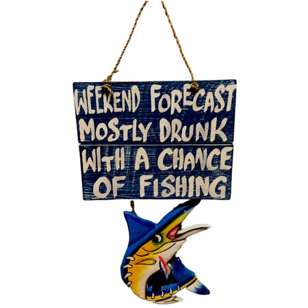 Weekend Forecast Mostly Drunk With A Chance Of Fishing Wood Sign