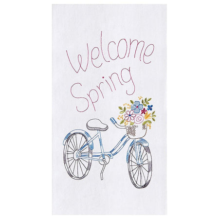 Welcome Spring Flour Sack Kitchen Towel