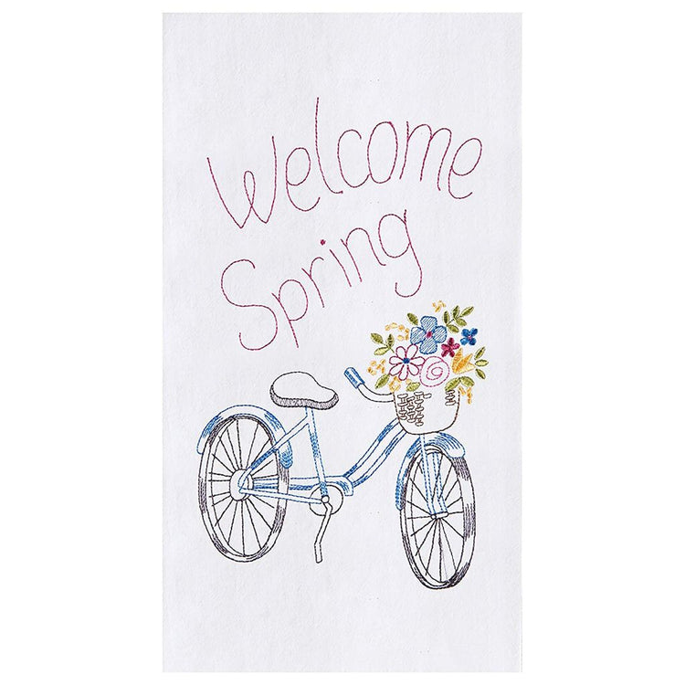 "White flour sack kitchen towel embroidered with a bicycle, flowers in basket ""Welcome Spring""."