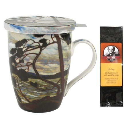 Tom Thomson West Wind Tea Mug, Infuser and Lid in Matching Gift Box and 1 Pkg of Tea Bags