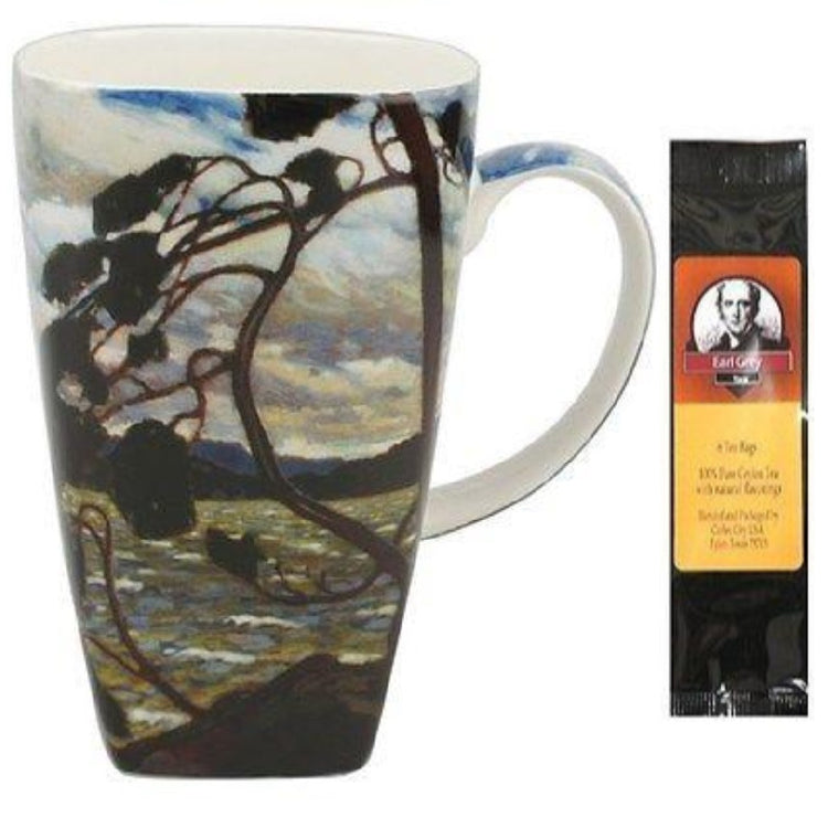 Tom Thompson's West Wind painting on the outside of the mug.