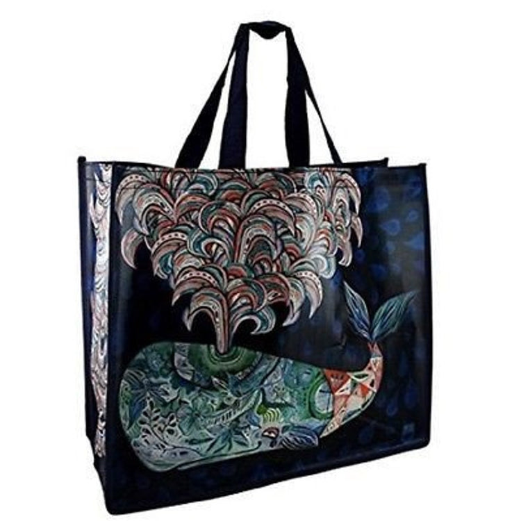 Square shaped black shopper bag featuring a large spouting whale. Artistic painting on whale and water of blues and greens.