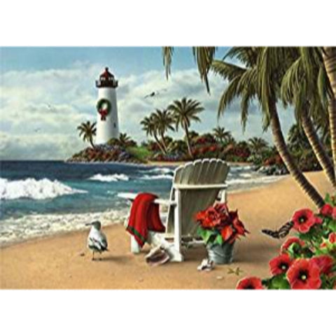 18 Christmas Cards and Envelopes, White Chair on the Beach with Lighthouse