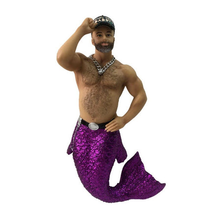 "Merman figurine ornament.  Purple tail, necklace and belt.  Ball cap ""Who's  your Daddy""."