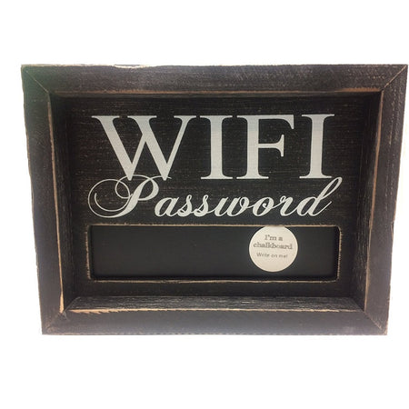 "Black wood frame around black sign with text ""WIFI Password"" small chalkboard under text."
