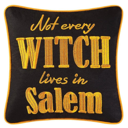 Black square pillow saying 'Not every witch lives in Salem' and trim in bright orange.