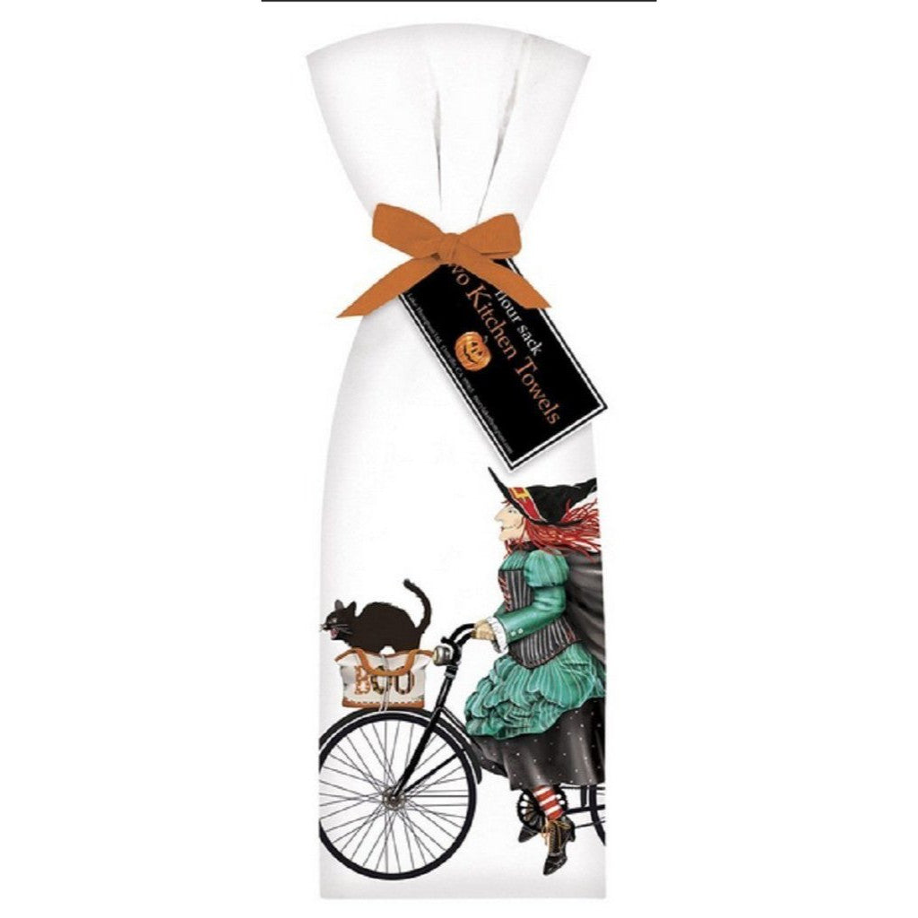2 Ribbon Tied Witch On A Bike Flour Sack Halloween Towels