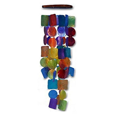 Rainbow Circles and Squares Capiz Wind Chime