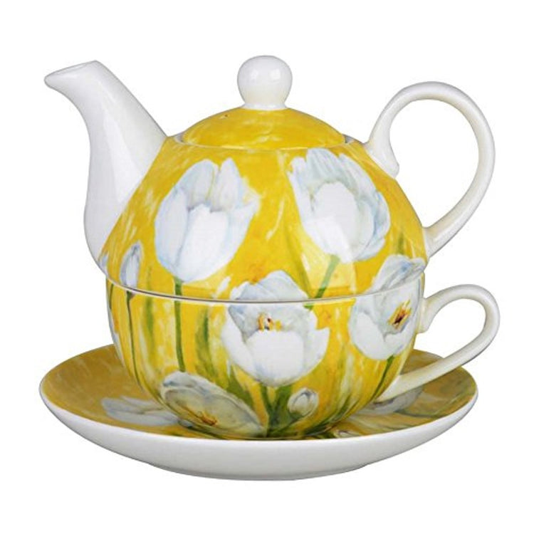 Yellow with white tulip's on the teapot, saucer, and cup.