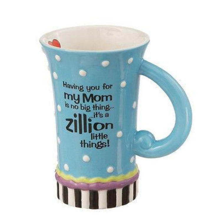 "Fluted light blue cup with loop handle, text""Having you for my Mom is no big thing.. it;s a zillion little things!"""