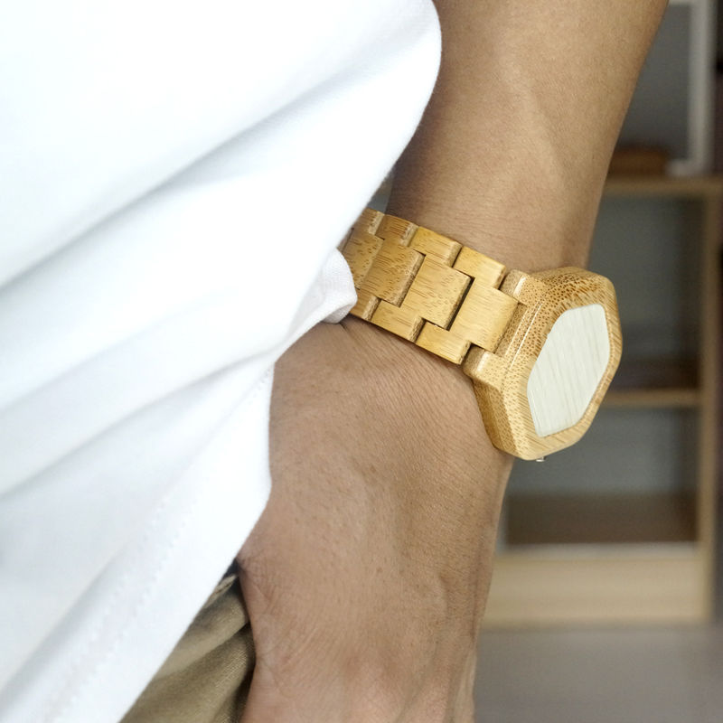 Natural Wood Watch with LED Display