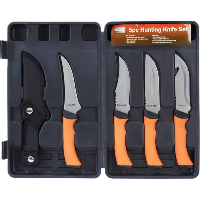 5pc Hunting Knife Set with Fixed Stainless Blades and Case