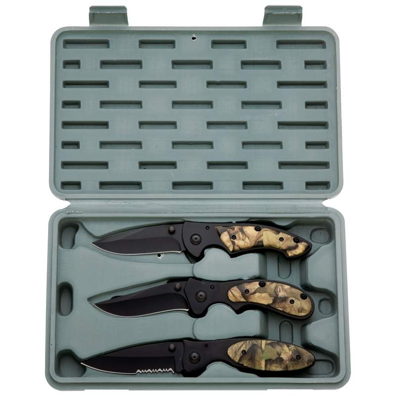3pc Liner Lock Knife Set with Camouflage Handles and Case