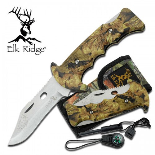 Camo Tactical Folding Knife Combo