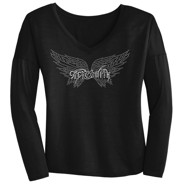 New Wings Logo Long Sleeve V (woman)
