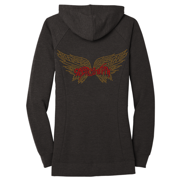 Bling Ladies Gold Wings Zip Hoodie