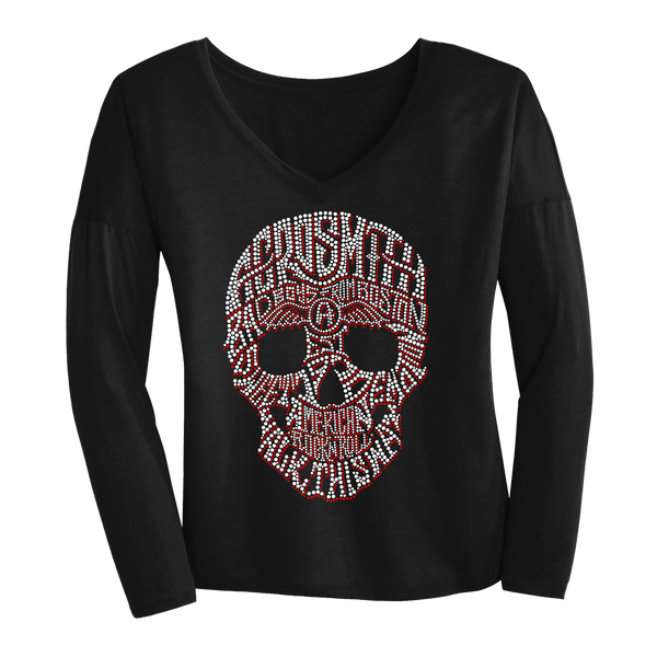 Skull Drapey Bling Long Sleeve V
