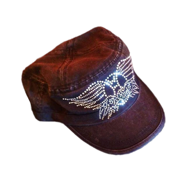 Women's Distressed Military-Style Bling Cadet Cap
