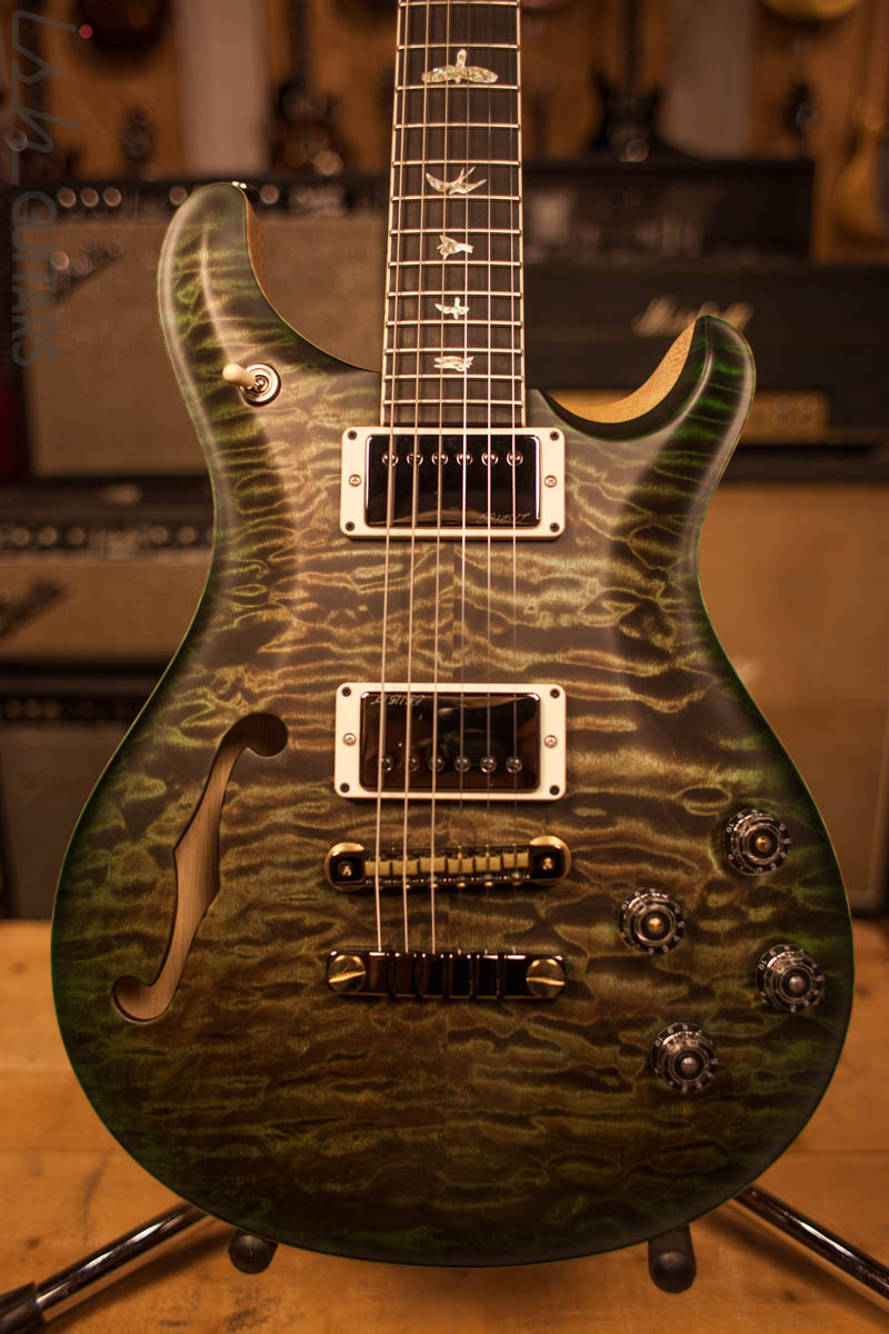 Paul Reed Smith PRS McCarty 594 Semi-Hollow Wood Library Korina Neck Ebony Fretboard Korina Back Mash Green Jade Burst Satin Finish