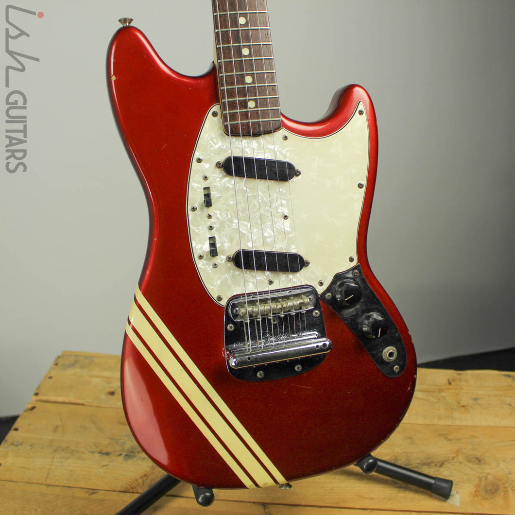 1973 1974 Fender Mustang Red with Competition Racing Stripes (DEMO VIDEO)