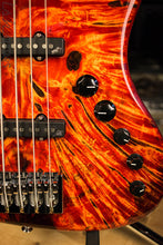 2018 Spector Coda DLX 5 Inferno Red Buckeye Burl Jazz Bass