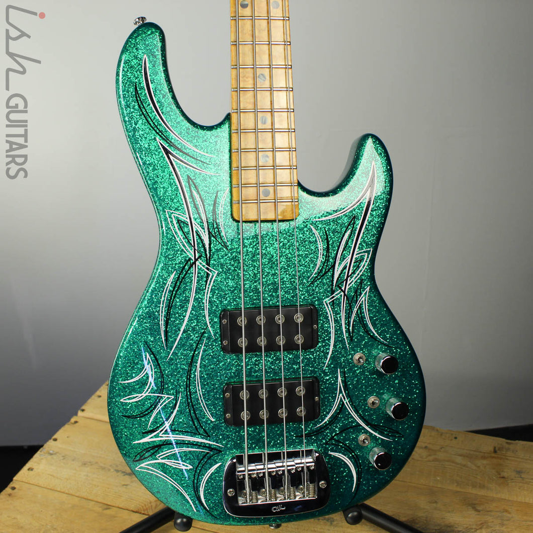 G&L L-2000 Bass guitar USA Custom Green Sparkle Birdseye Maple Neck Pinstripe