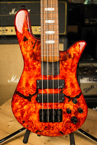 2018 Spector NS-4H2 Inferno Red Buckeye Burl 4 String Bass Guitar Bolt On