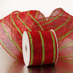 Red Green Stripes 4 inch x 20 yards Thick Metallic Striped Sparkle Deco Mesh Wreath Decorative Ribbon