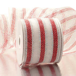 Red White Stripes 4 inch x 20 yards Thick Metallic Striped Sparkle Deco Mesh Wreath Decorative Ribbon