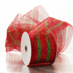 Red with Green Stripes 4 inch x 20 yards Thick Metallic Striped Sparkle Deco Mesh Wreath Decorative Ribbon