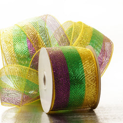 Purple Gold Green Stripes 4 inch x 20 yards Thick Metallic Striped Sparkle Deco Mesh Wreath Decorative Ribbon