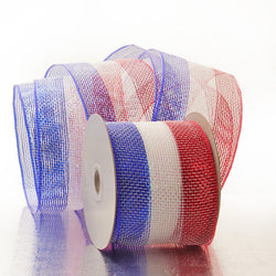 White Red Royal Blue Stripes 4 inch x 20 yards Thick Metallic Striped Sparkle Deco Mesh Wreath Decorative Ribbon