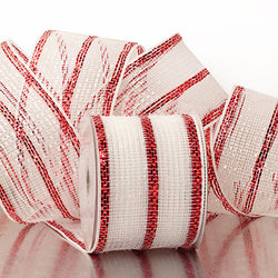 White Red Stripes 4 inch x 20 yards Thick Metallic Striped Sparkle Deco Mesh Wreath Decorative Ribbon