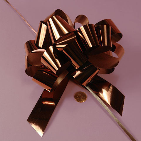 Chocolate Brown Large 5 inch Metallic Shiney Deluxe Gift Decorative Pull Bows, 10 pack
