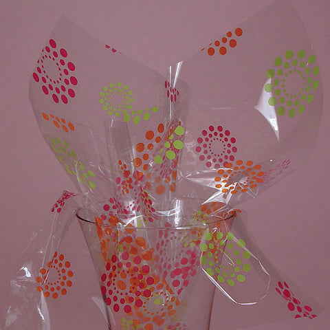 Blooming Dots Printed 30 inches x 100 feet Printed Decorative Cello Gift Basket Wrap Rolls
