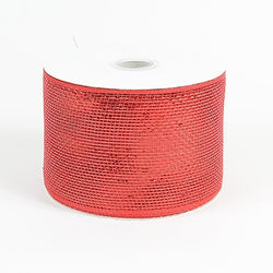 Red 4 inch x 20 yards Two Toned Sparkle Deco Mesh Wreath Decorative Ribbon