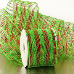 Green Red Stripes 4 inch x 20 yards Thick Metallic Striped Sparkle Deco Mesh Wreath Decorative Ribbon