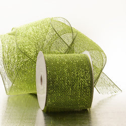 Olive 4 inch x 20 yards Half Solid Metallic Sparkle Deco Mesh Wreath Decorative Ribbon