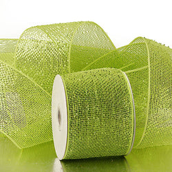 Lime Green 4 inch x 20 yards Half Solid Metallic Sparkle Deco Mesh Wreath Decorative Ribbon