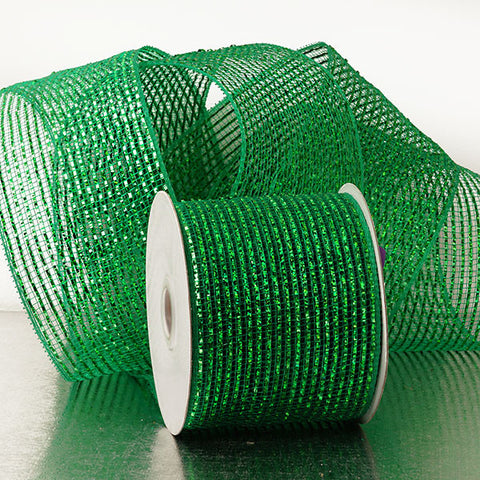 Emerald Green 4 inch x 20 yards Metallic Thread Striped Deco Mesh Wreath Decorative Ribbon