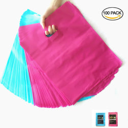 50 HOT PINK 50 TEAL Premium Glossy Plastic Merchandise Party Gift Favor bags