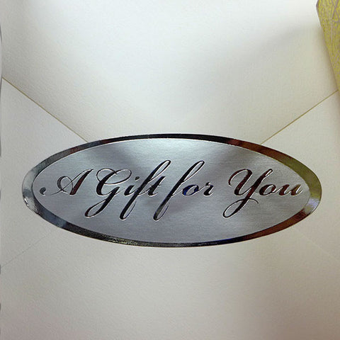 "250pk Silver Oval 2-1/2"" x 1"" A Gift For You Stickers"