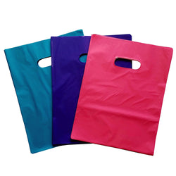 50 PURPLE, 50 TEAL, 50 PINK Premium Glossy Plastic Merchandise Party Gift Favor bags