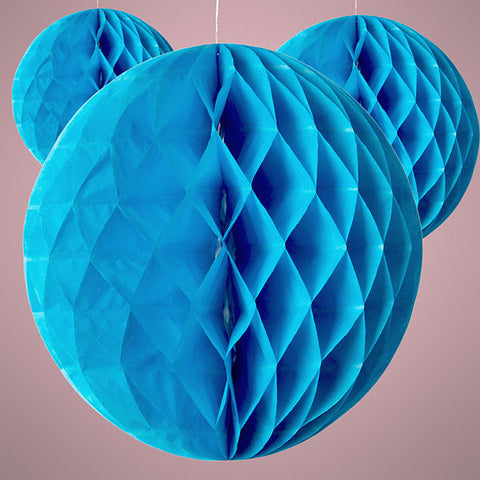 Blue 10 inch Honeycomb Tissue Paper Party Decoration Balls, 3 pack