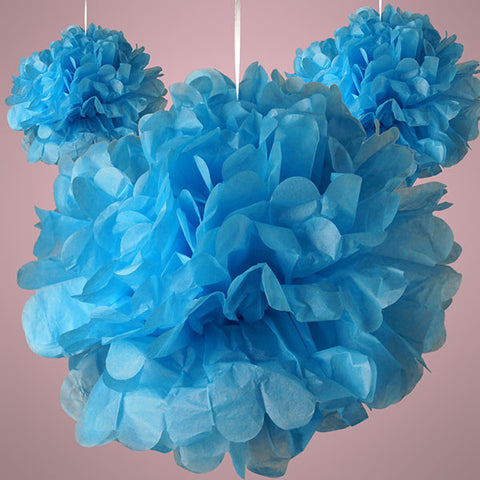 Blue Colorful Tissue Paper Pom Pom Hanging Party Decorations Balls, 3 pack