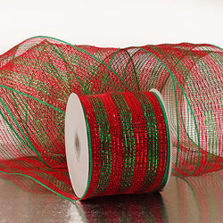 Red Emerald Green 4 inch x 20 yards Thick Metallic Striped Sparkle Deco Mesh Wreath Decorative Ribbon