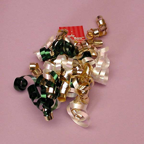 Evergreen Dark Green Metallic Gold White Decorative 5 inch Crimped Curly Ribbon Gift Bows, 24 pack