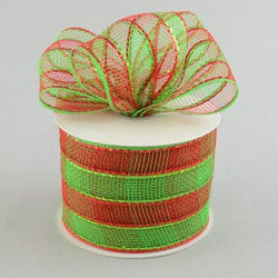Red Green 4 inch x 20 yards Thick Checkered Sparkle Deco Mesh Wreath Decorative Ribbon