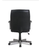 Wood-trim Leather Office Chair, Black Seat/back, Gray Base
