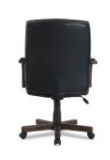 Wood-trim Leather Office Chair, Black Seat/back, Mahogany Base